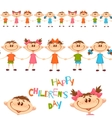 Seamless pattern with cute childrens Happy vector image