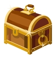 Closed antique chest of wood and gold vector image