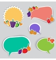 Autumn stickers set with fruits and vegetables vector image