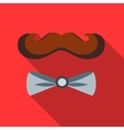 Mustache and bow tie icon flat style vector image
