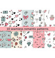 set of valentine pattern in doodle style vector image