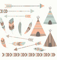 Tribal Tee pee Tents set vector image