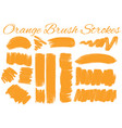 different styles of brush strokes in orange color vector image