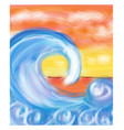 sea wave at sea and horizon in the distance vector image