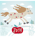New year 2014 card with horse vector image