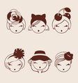 fashion girls in head accessories vector image vector image