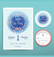 Nautical rope water colour wedding invitation vector image