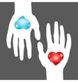 hearts in hands vector image