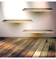 Beige Blue wall with lights wooden floor EPS 10 vector image