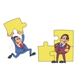 Businessmen solving puzzle 2 vector image