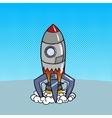 Cartoon rocket launch pop art style vector image
