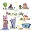 City doodle set colored vector image