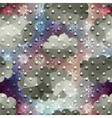 Drops of the rain and snowflakes on clouds vector image
