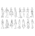 Girl in elegant evening and cocktail dresses icon vector image