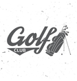 Golf club concept with golfing bag vector image