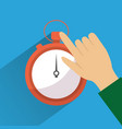 hand touch stopwatch clock time vector image