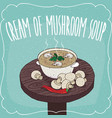 mushroom cream soup and fresh champignon vector image
