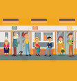 people in subway train car sitting standing and vector image