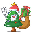 santa with gift christmas tree character cartoon vector image