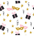 seamless pattern with gifts stars and masks vector image