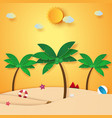 summer time beach and coconut tree paper art vector image