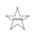 Police star outline icon Linear vector image
