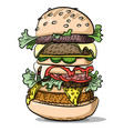 cartoon image of tasty burger vector image