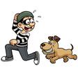 Thief running dog vector image