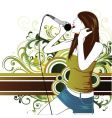 sing star pop girl vector image