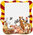 Farm animals around the frame vector image