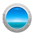 Porthole icon with sea and sky summer landscape vector image