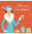 Christmas card with Santa girl vector image