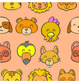 Collection animal head doodle style vector image