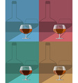 glasses of cognac set on metal stand with shadows vector image