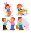 Set clip art with young children on vector image