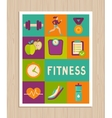 set of fitness icons on greeting card vector image