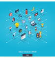 web development integrated 3d icons digital vector image
