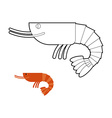 Shrimp coloring book Small Marine cancroid Ocean vector image