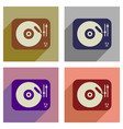 concept of flat icons with long shadow retro vector image