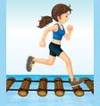 girl running on wooden log bridge vector image vector image