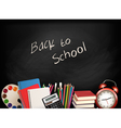 Back to school Chalkboard with school supplies vector image vector image