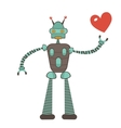 Cute robot in love holding heart vector image vector image