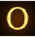 Alphabets O of gold glittering stars vector image