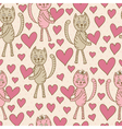cats with hearts seamless pattern vector image