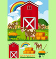 cows and red barn in the farmyard vector image