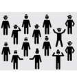 People pictograms with hats and mustache vector image