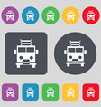 Fire engine icon sign A set of 12 colored buttons vector image