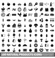 100 natural products icons set simple style vector image