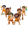 cavemen in different positions vector image