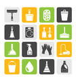 Silhouette Cleaning and hygiene icons vector image vector image